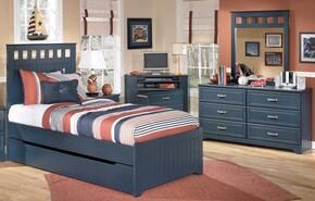 Leo Twin Bedroom Set with Panel Bed, Dresser, Chest and Mirror in Blue