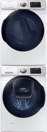 "White Front Load Laundry Pair with WF45K6500AW 27"" Washer, DV45K6500EW 27"" Electric Dryer and SKK7A Stacking Kit"