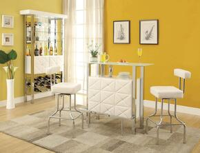 Sheila 71585T2CBC 4 PC Bar Table Set with Bar Table + 2 Chairs + Bar Cabinet in White PU and Chrome Finish