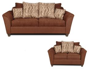 293000SL Zoey Sofa + Loveseat with 4 Jazzy Earth Toss Pillows, 1.5 Density Dacron Wrapped Cushions, No Sag Steel Prings and Solid Kiln Dried Hardwoods in Delray Fudge