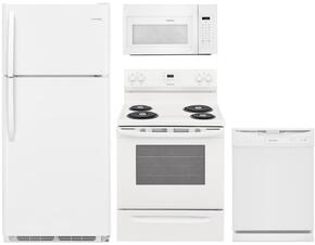 "4-Piece White Kitchen Package with FFTR1821TW 30"" Top Freezer Refrigerator, FGEF3036TW 30"" Electric Range, FGID2466QW 24"" Fully Integrated Dishwasher and FGMV176NTW 30"" Over-the-Range Microwave"