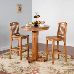 Sedona Collection 1165ROBT2BS 3-Piece Bar Table Set with Pub Table and 2 Slat Back Stools in Rustic Oak Finish