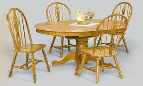 Sunset Selections Collection DLU-TBX4866-124S-LO5PC 5 Piece Dining Table Set with Round Table + 4 Keyhole Chairs