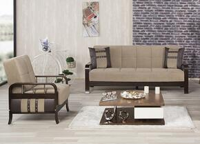 Studio NYC SNSBACMBN Package Containing Convertible Sofa Bed and Convertible Armchair with Wooden Frame, Stainless Steel Accents and Tufted Detailing in Magnum Brown