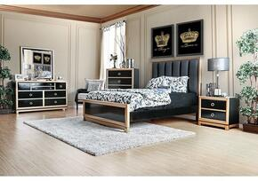 Braunfels Collection CM7263KBDMCN 5-Piece Bedroom Set with King Bed, Dresser, Mirror, Chest and Nightstand in Black and Gold Finish