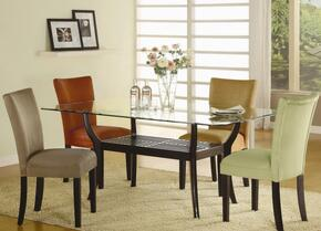 101491LGSET5 Bloomfield 5 PC Rectangle Dining Set (Table and 4 Side Chairs with Light Green Ochre Upholstery)