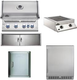 """5-Piece Stainless Steel Outdoor Kitchen Package with BIPRO500R0BNSS2 31"""" Natural Gas Grill, BISB245PFT 20"""" Side Burner, NFR055ORSS 35"""" Outdoor Refrigerator, N3700071 13"""" Access Door, and N3700360 24"""" Storage Drawer"""