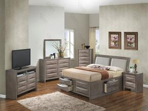 G1505IQSB4CHDMNTV2 6 Piece Set including  Queen Size Bed, Chest, Dresser, Mirror, Nightstand and Media Chest  in Gray