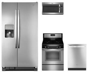"4-Piece Kitchen Package with WRS325FDAM 36"" Side by Side Refrigerator, WFG515S0ES 30"" Gas Freestanding Range, WMH31017FS 30"" Over The Range Microwave oven and WDT720PADM 24"" Built In Dishwasher in Stainless Steel"