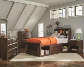Greenough Collection 400820T4PC 4-Piece Bedroom Set with Twin Bed, Night Stand, Dresser and Mirror in Maple Oak Finish