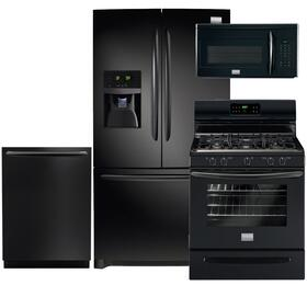 "Gallery 4-Piece Black Kitchen Package with FGHB2866PE 36"" French Door Refrigerator, FGGF3030PB 30"" Freestanding Gas Range, FGID2474QB 24"" Fully Integrated Dishwasher and FGMV175QB 30"" Over-the-Range Microwave"