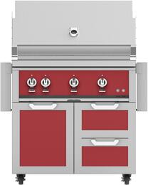 "36"" Freestanding Natural Gas Grill with GCR36RD Tower Grill Cart with Double Drawer and Door Combo, in Matador Red"