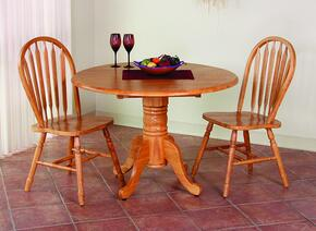 "Sunset Selections Collection DLU-TPD4242-820-LO3PC 3 Piece 42"" Round Drop Leaf Dining Set with 2 Arrowback Chairs"