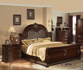 Anondale Collection 10310QN Queen Size Sleigh Bed + Nightstand in Cherry Finish