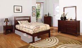Carus Collection CM7903CHTBDMCN 5-Piece Bedroom Sets with Twin Storage Bed, Dresser, Mirror, Nightstand and Chest in Cherry