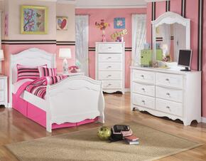 Exquisite Twin Bedroom Set with Sleigh Bed, Dresser and Mirror in White