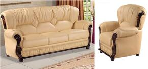 Mina 639-CA-S-C Living Room Set with Genuine Bonded Cappucino Leather Sofa and Chair in Camel
