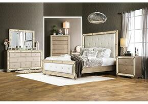 Loraine Collection CM7195QBDMCN 5-Piece Bedroom Set with Queen Bed, Dresser, Mirror, Chest and Nightstand in Silver Finish