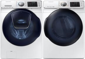 "White Front Load Laundry Pair with WF50K7500AW 27"" Washer and DV50K7500EW 27"" Electric Dryer"
