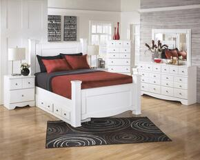 Weeki Collection Queen Bedroom Set with Poster Bed, Dresser, Mirror, Nightstand and Chest in White