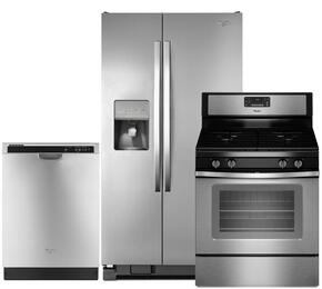"3-Piece Stainless Steel Kitchen Package with WRS325FDAM 36"" Side-by-Side Refrigerator, WFG515S0ES 30"" Freestanding Gas Range and WDF520PADM 24"" Full Console Dishwasher"