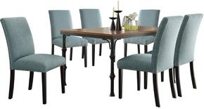 Vriel Collection 71580LGSET 7 PC Dining Room Set with Dining Table + 6 Light Green Side Chairs in Dark Oak and Black Finish
