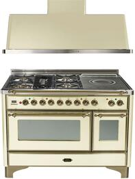 """2-Piece Antique White Kitchen Package with UM120SDMPAY 48"""" Freestanding Dual Fuel Range (Oiled Bronze Trim, 5 Burners, French Cooktop) and UAM120A 48"""" Wall Mount Range Hood"""