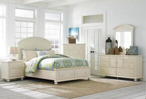 Seabrooke 4471QSB2NCDM 6-Piece Bedroom Set with Queen Storage Bed, 2 Nightstands, Drawer Chest, Door Dresser and Mirror in Cream Finish