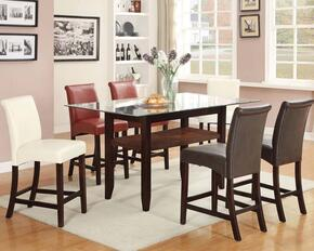 Ripley 71370T6C 7 PC Bar Table Set with Counter Height Table + 2 Red Chairs + 2 Espresso Chairs + 2 Ivory Chairs in Espresso Finish