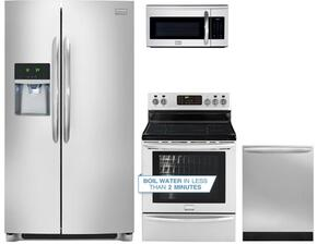 "4-Piece Stainless Steel Kitchen Package with FGHC2331PF 36"" Freestanding Side by Side Refrigerator, FGIF3061NF 30"" Electric Freestanding Range, FGMV175QF 30"" Over The Range Microwave and FGID2466QF 24"" Fully Integrated Dishwasher"
