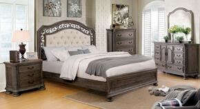 Persephone Collection CM7661QBEDSET 5 PC Bedroom Set with Queen Size Panel Bed + Dresser + Mirror + Chest + Nightstand in Rustic Natural Tone