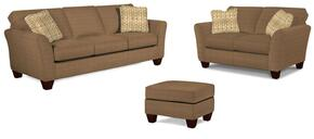 Maddie Collection 6517Q797386799082SLO 3-Piece Living Room Set with Sofa, Loveseat and Ottoman in Brown with Affinity Finish