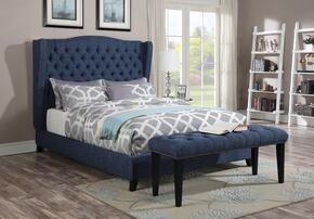 Faye Collection 20880QB 2 PC Bedroom Set with Queen Size Bed + Bench in Blue Color