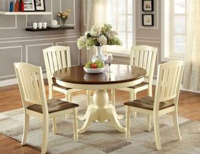 Harrisburg Collection CM3216OT4SC 5-Piece Dining Room Set with Oval Table and 4 Side Chairs in Vintage White/Dark Oak