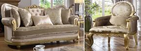 Valencia 658-S-C 2 Piece Living Room Set with Sofa and Chair in Rich Gold