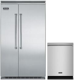 """2-Piec Stainless Steel Kitchen Package with VCSB5483SS 48"""" Side-by-Side Refrigerator and VDW302SS 24"""" Fully Integrated Dishwasher"""