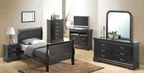 G3150ATBSET 6 PC Bedroom Set with Twin Size Sleigh Bed + Dresser + Mirror + Chest + Nightstand + Media Chest in Black Finish