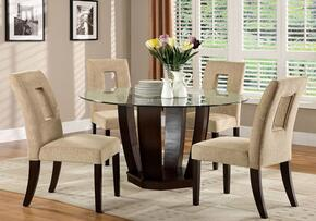 West Palm I Collection CM3625TTABLE4SC 5-Piece Dining Room Set with Round Table and 4 Side Chairs in Espresso