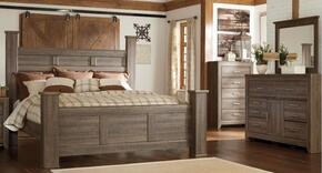 Juararo King Bedroom Set with Poster Bed, Dresser, Mirror and Chest in Dark Brown