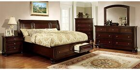 Northville Collection CM7683KSBDMCN 5-Piece Bedroom Set with King Storage Bed, Dresser, Mirror, Chest and Nightstand in Dark Cherry Finish