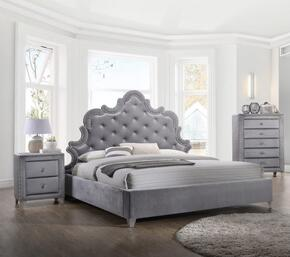 Sophie Collection SOPHIEQPBBEDROOMSET 2-Piece Bedroom Set with Queen Panel Bed and Single Nightstand in Grey