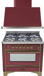 "2-Piece Burgundy Kitchen Package with UM906DVGGRBY 36"" Freestanding Gas Range (Oiled Bronze Trim, 6 Burners, Timer) and UAM90RB 36"" Wall Mount Range Hood"