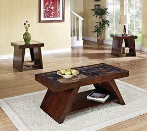 Jelani 80310CE 3 PC Living Room Table Set with Coffee Table + 2 End Tables in Brown Cherry Finish