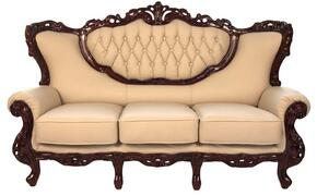 2118IVORYS2SET Traditional 2 Piece Livingroom Set, Sofa and Loveseat in Ivory with Mahogany Wood Finish