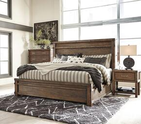 Leystone Queen Bedroom Set with Panel Bed, and Nightstand in Dark Brown
