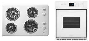 "2-Piece Kitchen Package with WCC31430AW 30"" Electric Cooktop and WOS11EM4EW 24"" Electric Single Wall Oven in White"