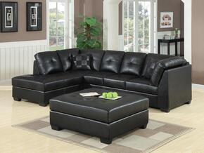Darie 500606SO 2 PC Living Room Set with Sectional Sofa + Ottoman in Black Color