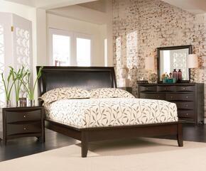 Phoenix 200410KWSET 4 PC Bedroom Set with California King Upholstered Platform Bed + Dresser + Mirror + Nightstand in Deep Cappuccino Finish