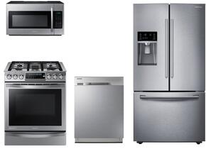 "4 Piece Kitchen Package With NX58H9950WS 30"" Slide In Gas Range, ME18H704SFS Over the Range Microwave Oven, RF23HCEDBSR 36"" French Door Refrigerator and DW80J3020US 24"" Built In Dishwasher"