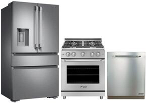 "3-Piece Stainless Steel Kitchen Package with DRF36C100SR 36"" French Door Refrigerator, RNRP36GSNG 36"" Freestanding Gas Range, and DDW24S 24"" Fully Integrated Dishwasher"